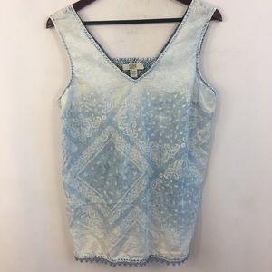 Sleeveless Chambray Shirt Top Paisey Bandana L